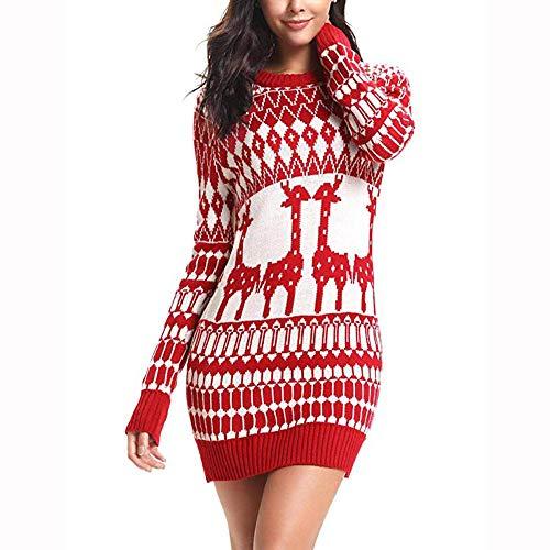 Weihnachten Kleid,Slim Fit Pulloverkleid Langarm A-Linie Strickkleid Resplend -