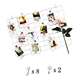 Iron Grid Panel photo wall Multifunction Metal Mesh Wall Decor/hanging Photo Wall/Wall Art Display & Organizer (65x45cm)DIY (white)