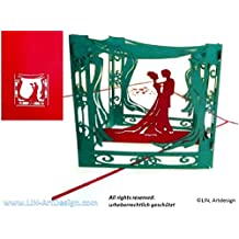 Lin de Pop Up Tarjetas Tarjetas de boda, boda invitaciones, tarjetas de 3d Tarjetas de felicitación boda, boda, de felicitación pareja de Carpa