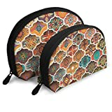 Ethnic Floral Mandala Seamless Pattern Cosmetic Pouch Clutch Portable Bags Handbag Organizer with...