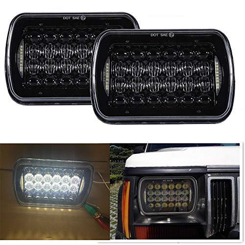 2 pi/èces Phares LED 17,8x15,2 cm Rectangulaires 12,7x17,8 cm avec Halo Angel Eyes dune forme de fl/èche /& DRL Blanc /& Clignotants jaune pour camion Remplace H6014 H6054 6054 H6052