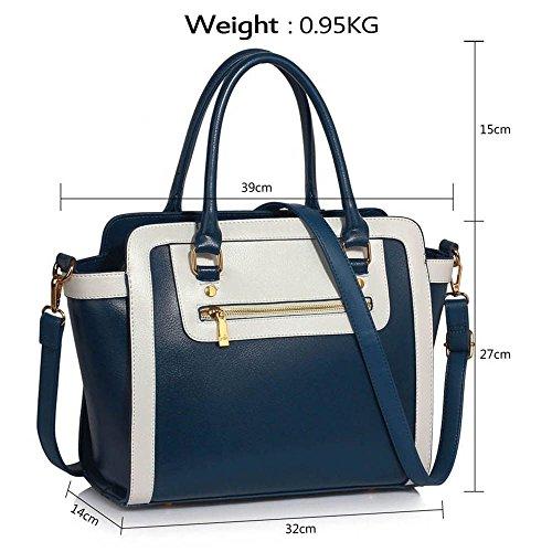 TrendStar Frau Des Faux Leder Handtasche Neu Damen Schulter Taschen Für Leinentrage Entwerfer Stil Berühmtheit Des Faux Leder B - Marine/Weiß