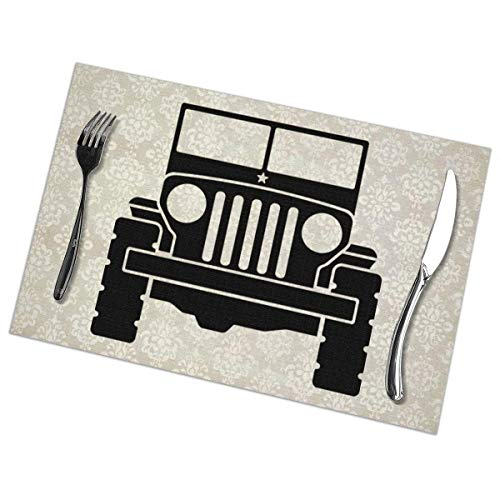Aeykis Jeep 1 Placemats Set of 6 for Dining Table Heat-Resistant 12