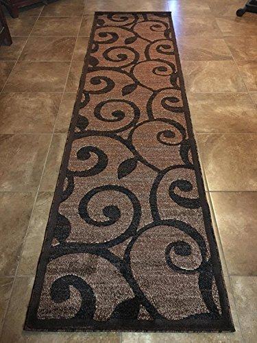 Moderner Runder Bereich Teppich Beige & Braun Design # 154(4ft. x4ft.) 32 inch X 10 Feet Braun - 10ft Teppich