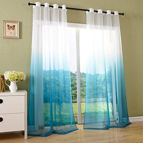 Schal transparent Farbverlauf Vorhang mit Ösen Gardine Voile, 2 Stück 245×140, Türkis, 204202 - 3