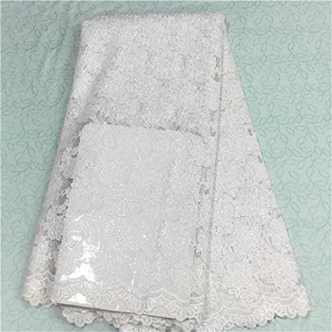 africano francés tela de cordones netos nuevo tejido populares de encaje blanco bordado de malla de tul de alta calidad para EN6-9 vestido de la novia