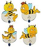 4 Stück - Garderobenhaken - die Biene Maja und Willi - aus Holz - für Kinder mit 1 Haken - Kindergarderobe Wandhaken Wandgarderobe Kinderzimmer Garderobe Kleiderhaken / Garderobenleiste - Bienen Honig