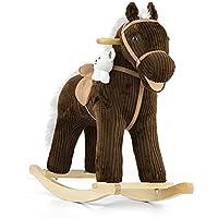 Caballo balancín de peluche Pony en 5 colores, Mecedora balancín de animal Balancín de juguete con efectos de sonido - Caballo balancín + peluche + oso Teddy blanco