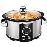 Slow Cooker, Aicok Capacità 6.5 litri, Pentola Elettrica a Cottura Lenta, Cuocivivande Digitale per la Cottura Lenta, Ciotola di Ceramica, Capacità per 7 Persone, Argento, Spina Europea