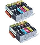 Rheintal - 10 PREMIUM XL Druckerpatronen kompatibel für Canon PGI-550 CLI-551 XL mit Chip und Füllstandsanzeige, kompatibel zu Canon Pixma MG6350 MG7150 MX725 MX925 IP7250 MG5450 MG5550 MG6450