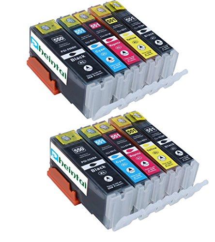 Preisvergleich Produktbild Rheintal - 10 PREMIUM XL Druckerpatronen kompatibel für Canon PGI-550 CLI-551 XL mit Chip und Füllstandsanzeige, kompatibel zu Canon Pixma MG6350 MG7150 MX725 MX925 IP7250 MG5450 MG5550 MG6450