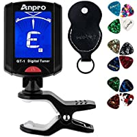 Anpro Guitar Tuner, Clip on GT-1 Digital Tuner, 12 Pack Guitar Picks Include 0.46mm 0.71mm 0.96mm and 1 Leather Key Chain Pick Holder for Guitar Ukulele Chromatic Violin