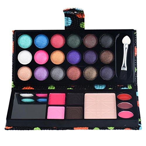 LONUPAZZ 26 Couleurs Palette Fard à PaupièRes Pailleté Ombre Maquillage CosméTique Poudre Fard à Joues Palette Blush Lip Gloss Brillant (Noir)
