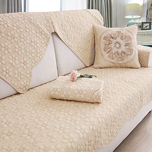 Umkehrbare Couch-Abdeckung,1 Stück Baumwolle Gesteppte Möbel Protektor Sofa Slipcover Für Haustier Kinder1 2 3 4 Kissen Couch-g Gelb 90x210cm(35x83inch)