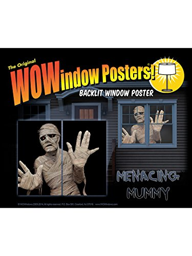 Horror-Mumie Halloween Fenster-Sticker 2 Stück schwarz-beige 91x152cm -
