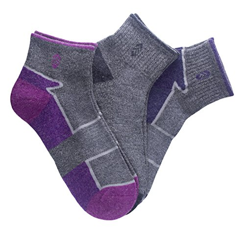 Wolle Socke No-show Womens (Gratis Country Quarter Socken (Pack 3), damen, Wool Purple/Berry Color Block)