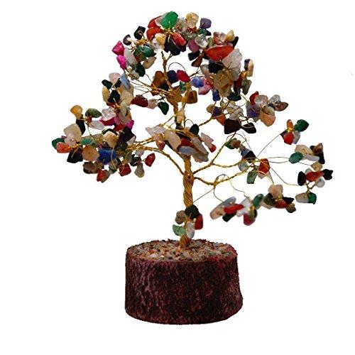 Gebogene Ebene (Feng Shui Natur Multicolor Heilung Edelstein Kristall Bonsai Baum für gut Glück, Reichtum und Wohlstand inkl. 4Divine Räucherkerze)