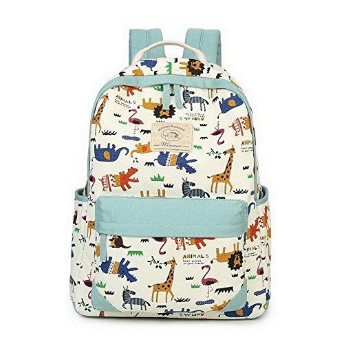 Acmebon Zaino scuola in tela di cotone, modello stampato con animali, borsa scuola per ragazze Azzurro 619