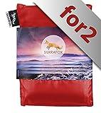 Silkrafox for 2 - Saco de dormir ultraligero para las excursiones de senderismo, 150 cm de anchura es espacio suficiente, los viajes, las acampadas, seda artificial, rojo