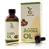 Reines Bio Jojobaöl Gold 120ml, ohne Silikon - 100% nativ, kaltgepresst, vegan - Anti-Aging Serum für Gesicht, Anti-Falten, Körper, Haare, Haut, Hände, Nägel - naturreines Basisöl in Lichtschutzflasche mit Pipette