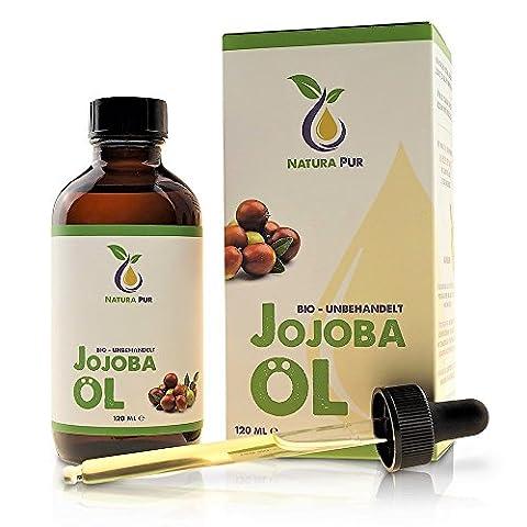 Reines Bio Jojobaöl Gold 120ml, ohne Silikon - 100% nativ, kaltgepresst, vegan - ideal für Gesicht, Körper, Haare, Haut, Hände - naturreines Basisöl in Lichtschutzflasche mit Pipette