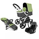 Kinderwagen Set MAGICA mit Babyschale 3 in 1 Kombi Kinderwagen Grün