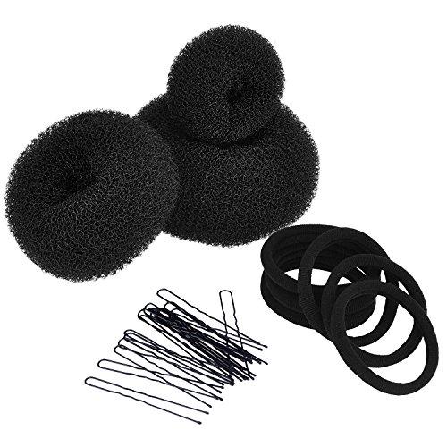 3 Stück Brötchen Maker Haar Knotenring Bun Donutmaker Set Haar Styling Zubehör Kit (Groß, mittler und klein), Schwarz