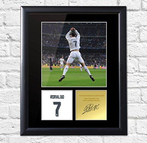 Firmado montado pantalla Foto Cristiano Ronaldo Real Madrid Portugal