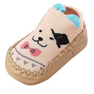 MAYOGO Calcetines para Bebés Niña Zapatillas Primera Infancia Calcetines Cortos Antideslizantes Estampado Animales para Niños Zapatos con Puntos de Goma Zapatillas de Casa Invierno para Bebé 9