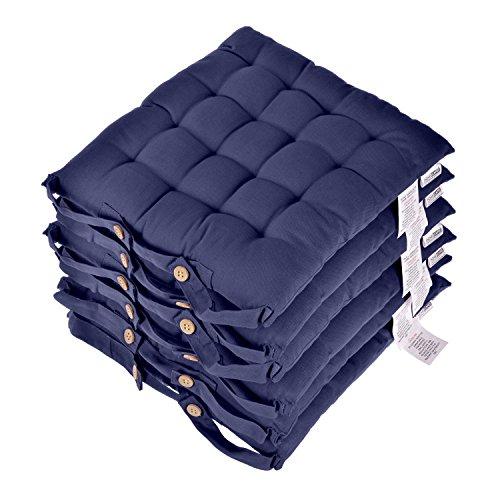 Homescapes Stuhlkissen 40x40 cm 6er Set marineblau Stuhlauflage mit Bändern und Knopfverschluss...