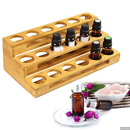 Yunt Présentoir d'huiles essentielles, Caisse de boîte en Bois Ronde de Stockage d'affichage d'affichage de Bouteille d'huile