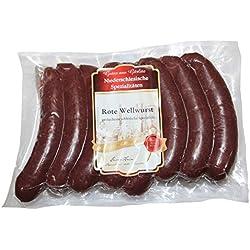 Wellwurst/Original Niederschlesische rote Wellwurst 8 Stück 0,800kg von Dieter Hein OHNE ZUSATZSTOFFE,Semmelwurst/Wellwurst dunkel Leberwurstfülle