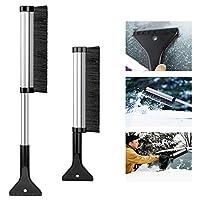 GDSZHS Ice Scraper Brush, Retractable Car Snow Removal Shovel Ice Scraper, Car Window Scraper, Ice Remover for Windshield Glass