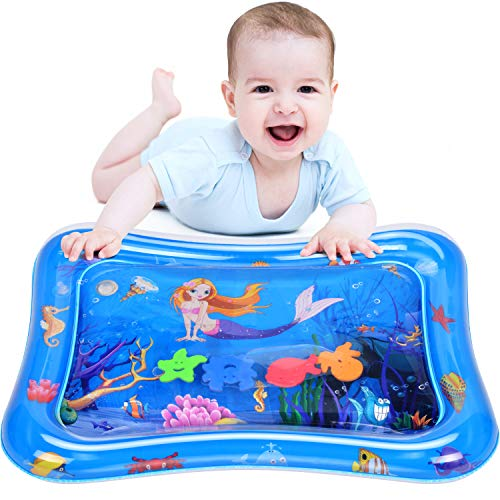 Elover Baby Water Play Mat Inflatable Tummy Time Water Mat for Infants & Toddlers Activity Center Leakproof Mat Sensory Toys for Babies Baby Toys for Fun Time