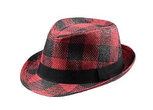 Miuno Unisex Trilby Hut Herren Damen Partyhut Stroh Fedora Hut (H51088(Rot))