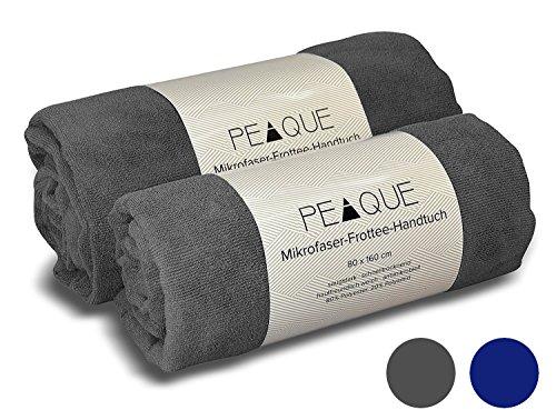 PEAQUE Mikrofaser Frottee-Handtuch - XXL, schnelltrocknend, leicht (nur 290 g/qm), saugfähig, antibakteriell, pH-hautneutral - Strandtuch Reisehandtuch Saunatuch Badetuch Microfaser-Sporthandtuch (Grau, 100x200 cm (2 Stück))
