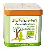 MATCHATTO Bio Grüntee (neue verstärkte Formel) | Bio-Matcha, Bio-Moringa und Bio-Kardamom | 50g Dose (DE-ÖKO-070)