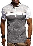 Leif Nelson Herren Sommer T-Shirt Polo Kragen Slim Fit Baumwolle-Anteil Basic schwarzes Männer Poloshirts Longsleeve-Sweatshirt Kurzarm Weißes Kurzarmshirts lang LN1420 Weiss Small