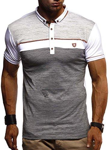 LEIF NELSON Herren Sommer T-Shirt Polo Kragen Slim Fit Baumwolle-Anteil | Basic schwarzes Männer Poloshirts Longsleeve-Sweatshirt Kurzarm | Weißes Kurzarmshirts lang | LN1420 Weiss XX-Large