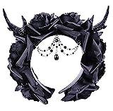 Dark Dreams Gothic Steampunk Haarband Haarreif Kopfschmuck Geweih & Rosen schwarz -