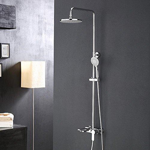 BY-Gruppo vasca in ottone massiccio, Turbo super sottile, rising tre-box doccia, rubinetto in acciaio inox filtro schermo, multi-funzione doccetta