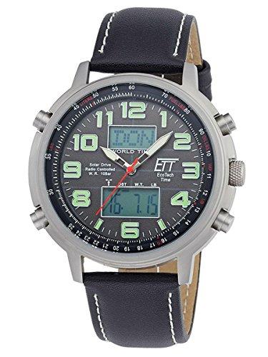ETT Eco Tech Time Funk Solar Weltzeit Herren Uhr Chronograph mit Leder Armband EGS-11301-22L