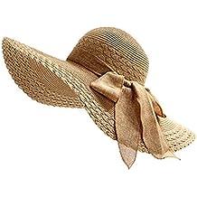 Leisial Mujer Ocio Sombrero de Playa de Ala Ancha Protector Solar Visera  Sombrero de Paja Verano fd2f9f71b36