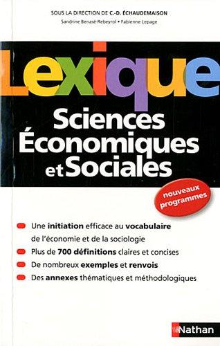 Lexique de Sciences Économiques et Sociales par Sandrine Benasé-Rebeyrol