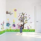 WALPLUS - 3 Set di Adesivi da Parete per cameretta dei Bambini: MOD. DF5099 (Happy Animals), MOD. WS3026 (Owl Tree Star), MOD. AY763 (Little Chick Grass), Multicolore