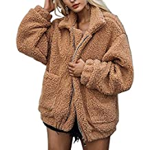 FidgetGear Women Winter Warm Coat Casual Long Sleeve Solid Loose Fit Soft Plush Jacket with Pockets
