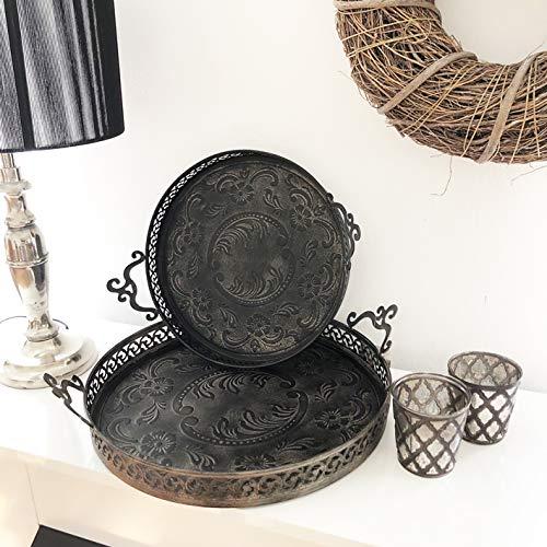 Frida\'s Living Tablett Shabby Fleur Metall schwarz rund Kerzenteller Dekotablett 2 Größen Landhaus Country Retro Vintage (40 cm) (32 cm)