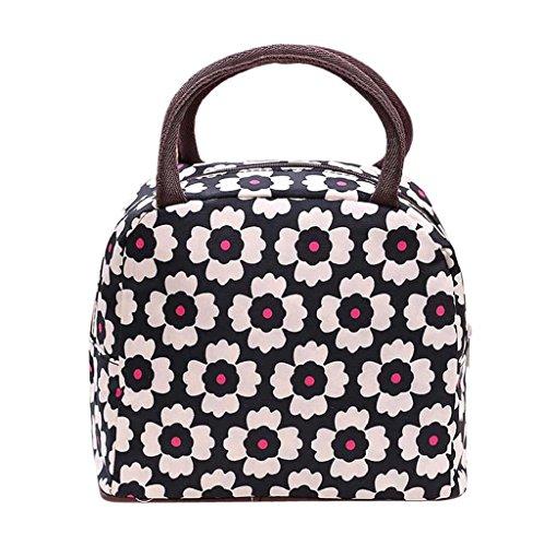 Pranzo al sacco Familizo Sacco per il Singolo Portable Lunch Box Carry Borsa Viaggi picnic Borsa di stoccaggio (Rosa+Nero) - Giardino Strumenti Carry Bag