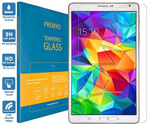 PREMYO Vetro Temperato per Samsung Galaxy Tab S 8.4 Pellicola Protettiva per Galaxy Tab S 8.4 Protezione Schermo Compatibile con Samsung Tab S 8.4 Durezza 9H Bordi 2,5D Anti-Graffi Bolle Impronte