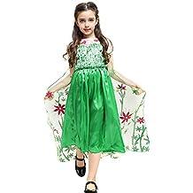 Katara - Vestido de princesa de Frozen Fever, disfraz de Elsa la Reina de Hielo, verde con tren floral - para niñas de 6-7 años